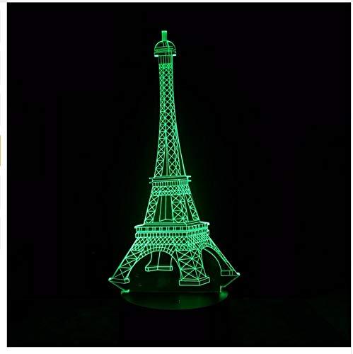 3D Mode France Tour Eiffel Led Nuit Lumière Rvb Modifiable Humeur Lampe Chambre Lampe De Table Enfants Amis Famille Cadeaux