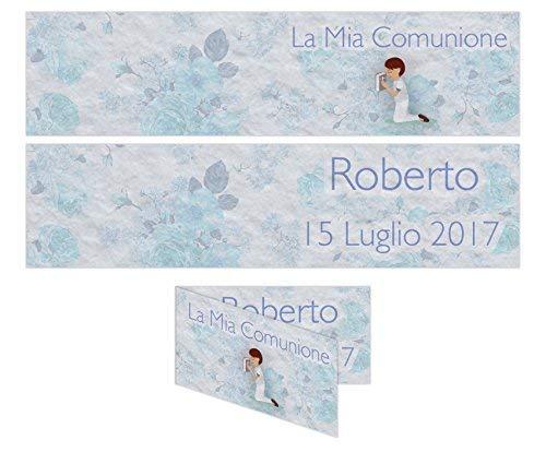 Bigliettino Confetti Comunione 5x2,5 cm 35pz - PERSONALIZZABILE maschio Partecipazione PERSONALIZZATA