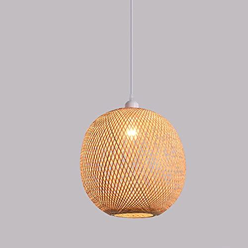 KAIKEA Lámpara colgante esférica hueca de bambú, candelabro de mimbre, candelabro, lámpara de techo, E27, lámparas colgantes, decoración, luces colgantes, para hotel, comedor, decoración del hogar, ac