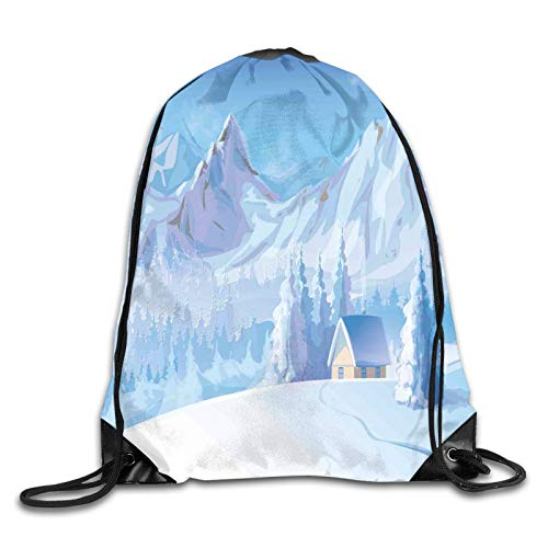 Drawstring Gym Bag Backpack,Little House Below Majestic Mountains In Winter Ice Blizzard Frozen Back Decor,Rucksack for School Sports Travel Women Children Birthday Present