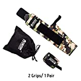 """IRON WARRIOR Premium Wrist Grip/Wraps, 23"""" Long 1 Pair Heavy Duty Stitching with Thumb Loops and Carrying Bag, Wrist Support Free Size, Breathable (Green Camouflage) weightlifting gloves Apr, 2021"""