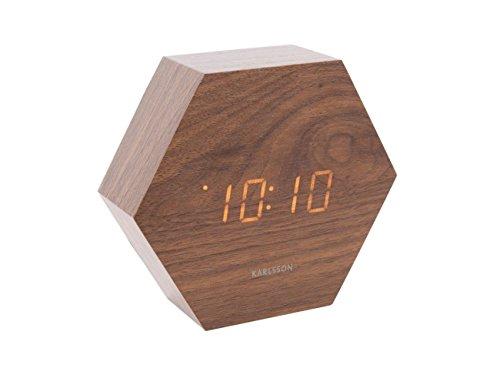 Karlsson KA5651DW wekker/alarm klok - Hexagon - bruin - 13 x 11 x 4,5 cm
