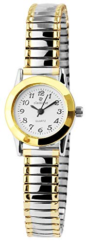 Classix Damenuhr Weiß Silber Gold Zugband Zugarmband Metall Armbanduhr