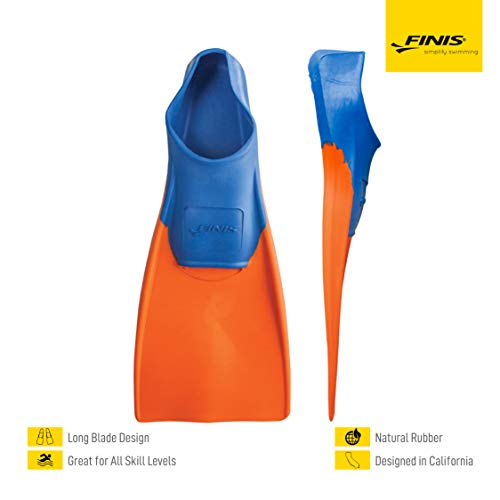 FINIS Long Floating Fins , Blue/Orange, XXS (Jr. 11-1)