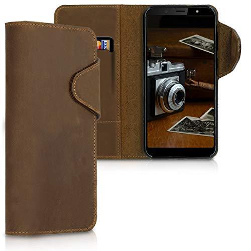 kalibri Wallet Case kompatibel mit HTC U12 Life - Hülle Leder - Handy Cover Handyhülle in Braun