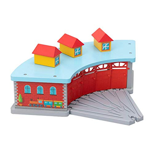 Luckyx DIY Wooden Car Park, Playset Rail Village Station with 5-Way Track