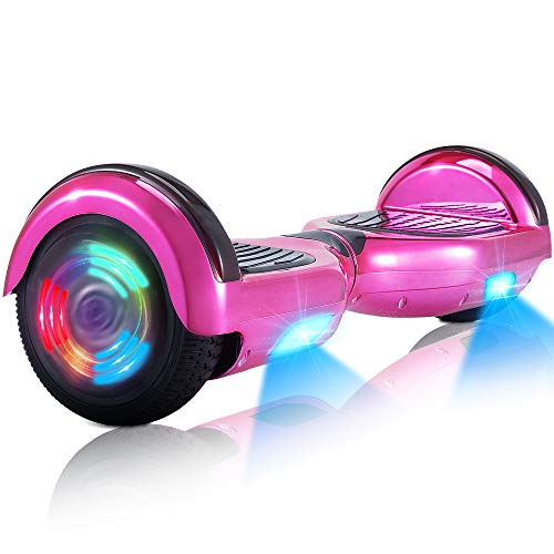 """Hoverboard-Hoverboard para niños, Hoverboards autoequilibrantes de Dos Ruedas de 6.5 \""""con Bluetooth y Luces para Adultos, Hoverboard con certificación UL 2272 para niños de 6 a 12 años (Rosado)"""