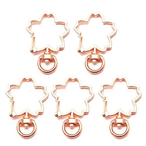 ZJL220 Mosquetones de metal con forma de flor de cerezo, 5 unidades