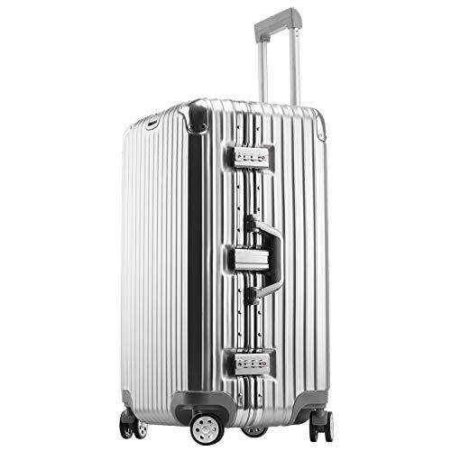 ビルガセ(Vilgazz) スーツケース アルミフレーム 拡張 大型 8輪キャスター TSAロック 付日本語取扱説明書 旅行出張 1年保証 シルバー silver Lサイズ 約78L