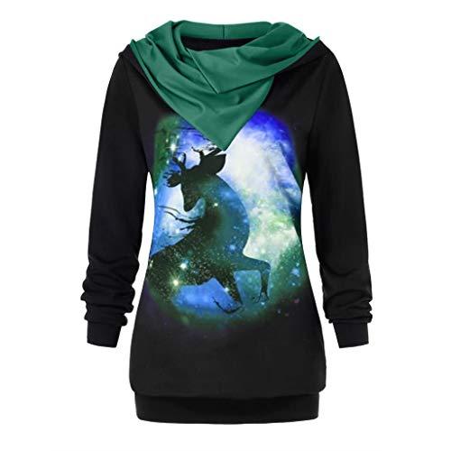 GreatestPAK Frohe Weihnachten Hoodie Damen Rentiermuster Langarm Tops Weihnachten Sweatshirt,Grün,Etiketten:S(Büste:96cm)