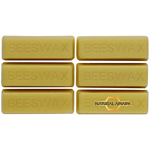 NATURAL APIARY - 100% Cosmetic Beeswax Bars - 6 x 1oz Bars - Moisturizer, Lotions, Creams, Lip Balms, Soaps