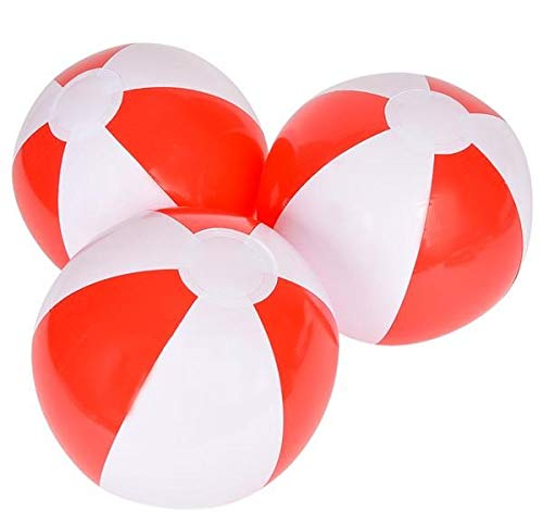 Rhode Island Novelty 12 Inch Red and White Beach Balls One Dozen
