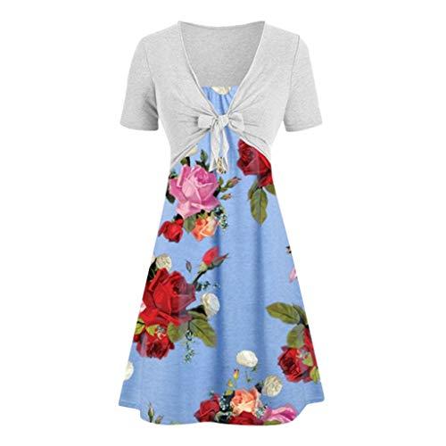 MERICAL Kleiden Sexy Sommer Damen Frauen beiläufige Feste Bogen Knoten Schal Mantel Strap Flower Print Kleid Zwei Stück Anzüge(Large,Blau)