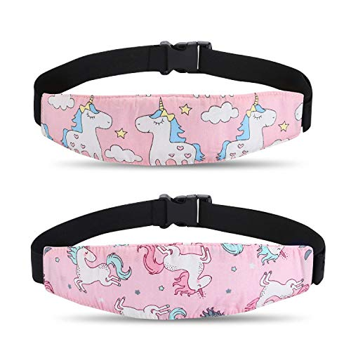 2 Pcs Baby Car Seat Neck Relief and Head Support,Silence Shopping Car Seat Head Band Strap Headrest,Stroller Car Seat Sleeping Head Support for Toddler Child Children Kids Infant (Unicorn)