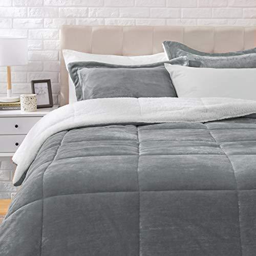 Amazon Basics Ultra-Soft Micromink Sherpa Comforter Bed Set - Charcoal, King