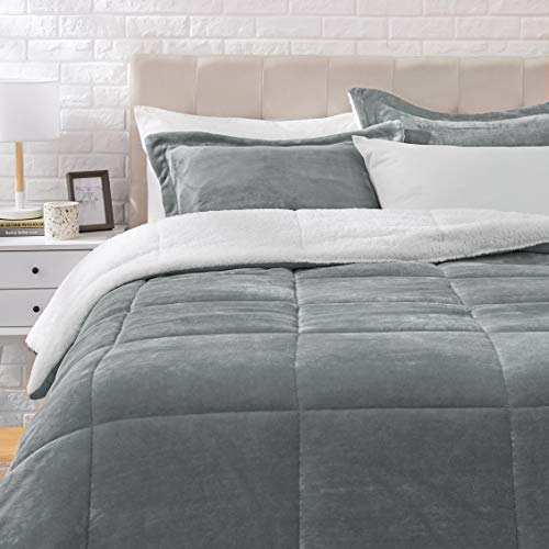 AmazonBasics Ultra-Soft Micromink Sherpa Comforter Bed Set, King, Charcoal - 3-Piece