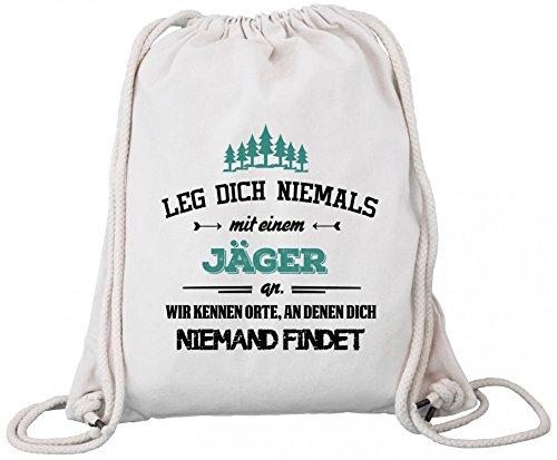 ShirtStreet Jagd jagen Premium Bio Baumwoll Turnbeutel Rucksack Stanley Stella Leg Dich niemals mit einem Jäger an, Größe: onesize,Natural