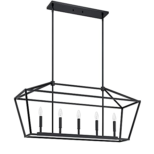 Araña Ajustable, Lámpara De Cocina De 5 Luces Con Isla, Lámpara De Suspensión Lineal, Lámpara De Suspensión De Polo Negro 101.60 X 30,48 X 47.04 Cm