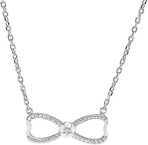 ZHIFUBA Co.,Ltd Collar Collar Moda Simple Símbolo del Infinito Collar de clavícula Señoras Cien Arco S925 Collar de Plata Collar