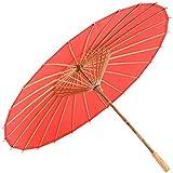 rojo Sombrilla de bambú 80cm de diámetro Sombrilla china Paraguas...