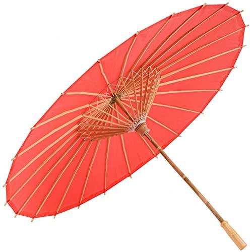 rojo Sombrilla de bambú 80cm de diámetro Sombrilla china Paraguas Oriental Sombrilla Sombrilla oriental
