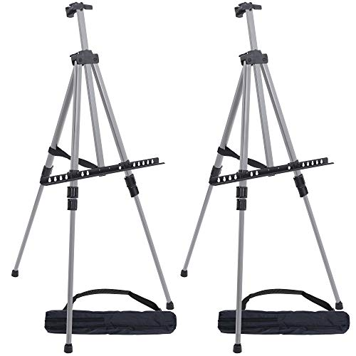 US Art Supply 66quot Sturdy Silver Aluminum Tripod Artist Field and Display Easel Stand Pack of 2  Adjustable Height 20quot to 55 Feet Holds 32quot Canvas  Floor and Tabletop Displaying Portable Bag
