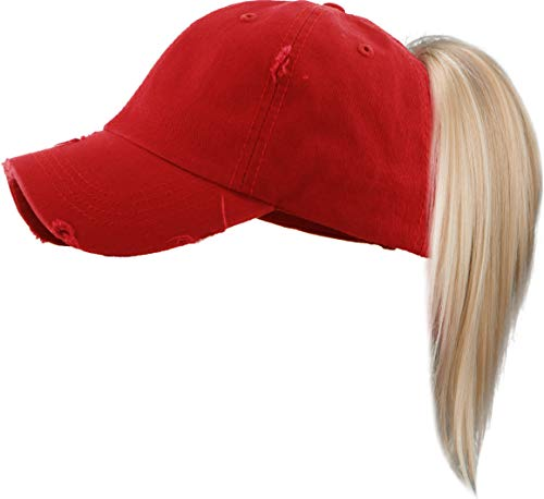 Kids Messy Bun Pony Tail Hat  Distressed  Solid Red
