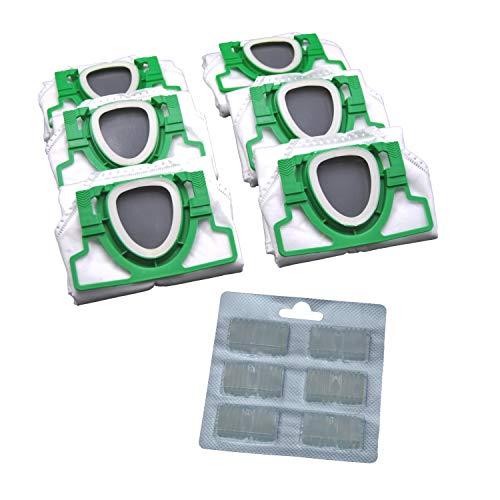 6 Vlies Staubsauger Beutel und Duftblock geeignet für Vorwerk VK 200 VK200 FP 200 FP200