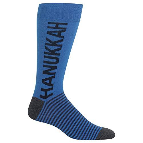 Hot Sox Men's Holiday Fun Novelty Crew Socks, hanukkah (Blue), Shoe Size: 6-12