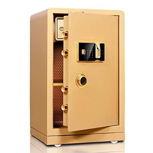 Zhicaikeji Caja Fuerte Sólida de Acero biométrico de Huellas Dactilares Caja de Seguridad ignífuga y Resistente al Agua Segura for el hogar para Dormitorio (Color : Gold, Size : 60x40x36cm)