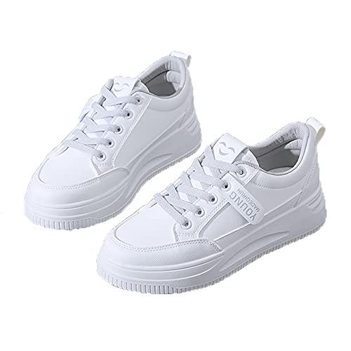 Zapatillas de Deporte para Mujer Zapatos Casuales de Moda con Cordones Bajos Zapatos de Plataforma Antideslizantes Ligeros para Uso Diario
