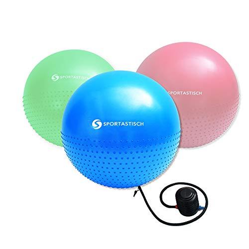 Sportastisch Preis-Leistungssieger¹ Gymnastikball Massage Gym Ball mit Pumpe und E-Book, Großer Pilates Ball Fitnessball 55cm, Sitzball für Büro mit bis zu 3 Jahren Garantie² (ähnlich 65/75cm)