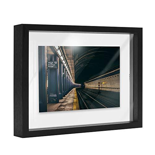 Afuly Schwarz bilderrahmen Holz 20X25 Schwebender Glas Beidseitig Schwimmende Modern Desktop oder Wand