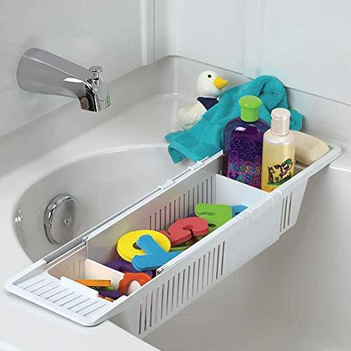 HomDSim Bandeja de baño de plástico, soporte para bañera antideslizante, telescópica, ajustable, multifunción, soporte para bañera para baño, 86 x 14 x 10 cm, color blanco