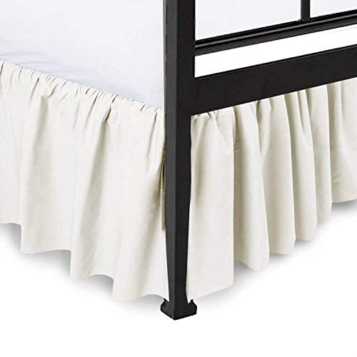 "Ruffled Bed Skirt Split Corners Ultrasoft Poly Cotton/Microfiber Upto 16"" Drop Expertise Tailored Fit Wrinkle Free Bed Skirt Dust Ruffle (Full-Ivory)(Available in All Bed Sizes and 10 Colors)"