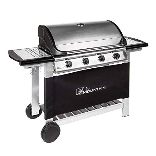 Fire Mountain Everest 4 Burner Gas Barbecue | Premium Stainless Steel | Superior Cast Iron Grill and Griddle | Extra Large 77cm x 42cm Cooking Area