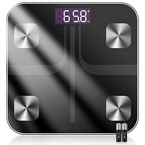 Körperfettwaage mit App Smart Bluetooth Digitale Personenwaage, Körperwaage für iOS & Android Smart Waagen Körperfettmonitor Körperzusammensetzung Analysator (Batterie eingeschlossen)