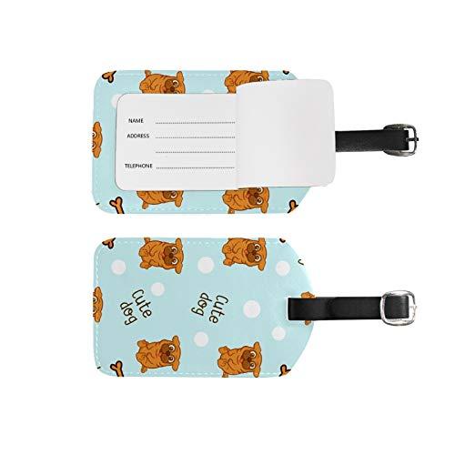 Etiquetas de equipaje, soporte para nombre de dirección, 2 unidades, juego de etiquetas de identificación portátil, bolsa de tarjetas, decoración de equipo de viaje, lindo perro para maletas bolsas