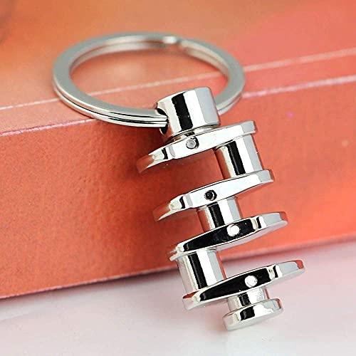 3D Kurbelwelle Schlüsselbund Tasche Zubehör Auto Schlüsselring Schlüsselanhänger für Männer - Silber, 1St