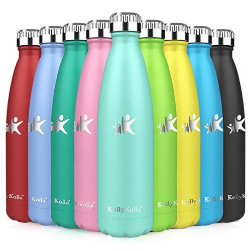 KollyKolla Botella de Agua Acero Inoxidable, Termo Sin BPA Ecológica, Botellas Termica Reutilizable Frascos Térmicos para Niños & Adultos, Deporte, Oficina, Yoga, Ciclismo, (350ml Verde Crema)