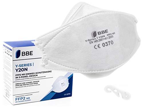 BBE Y20N | FFP2 Maske CE zertifiziert deutscher Hersteller Marke | hygienisch einzeln verpackt | zertifiziert CE0370 EN149:2001+A1:2009 | ultraleicht FFP2 Masken groß | gratis Maskenclip | 5 Stück