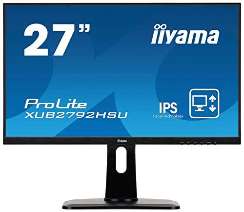 iiyama ProLite XUB2792HSU-B1 68,6cm (27 Zoll) IPS LED-Monitor Full-HD (VGA, HDMI, DisplayPort, USB3.0, Ultra-Slim-Line, Höhenverstellung, Pivot) schwarz