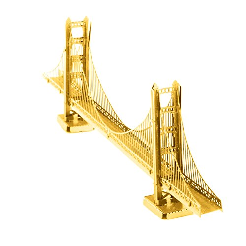 Fascinations Metal Earth 3D Laser Cut Model - San Francisco Golden Gate Bridge in Gold - Rare Earth Edition