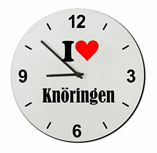 Druckerlebnis24 Glasuhr I Love Knöringen eine tolle Geschenkidee die von Herzen kommt| Wanduhr| Geschenktipp: Weihnachten Jahrestag Geburtstag Lieblingsmensch