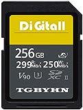 TGBYHN Digital 256GB Series SDXC UHS-II Memory Card, V90, CL10, U3, Max R300MB/S, W299MB/S (250MB-256GB)