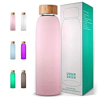 Glass Water Bottle with Protective Silicone Sleeve and Bamboo Lid Urban green 18oz 1extra 304 Stainless Steel Lid with Handle BPA Free Dishwasher Safe Valentine Gift
