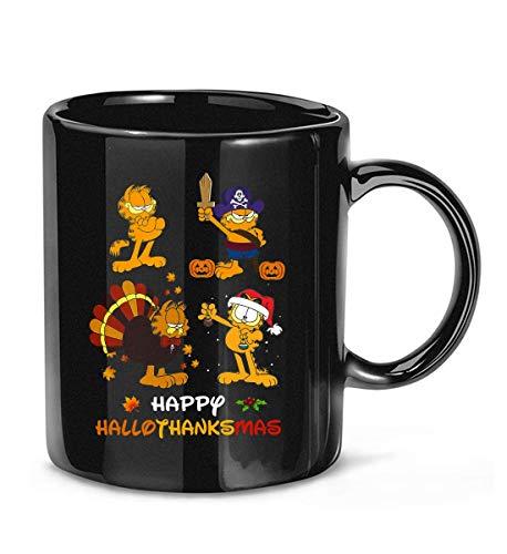 ISACY KIBER Happy Hallothanksmas Halloween Thanksgiving Christmas #Garfield Lovers Coffee Mug for Women and Men Tea Cups