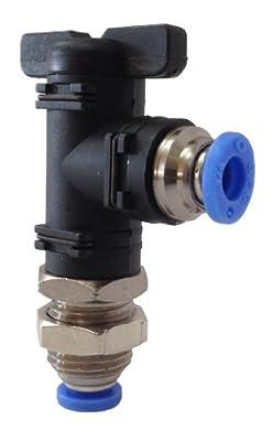 "PneumaticPlus BLM-1/4 Mini Ball Valves Bulkhead Union Elbow 1/4"" OD Tube, Push-To-Connect (Tube to Tube) from PneumaticPlus"