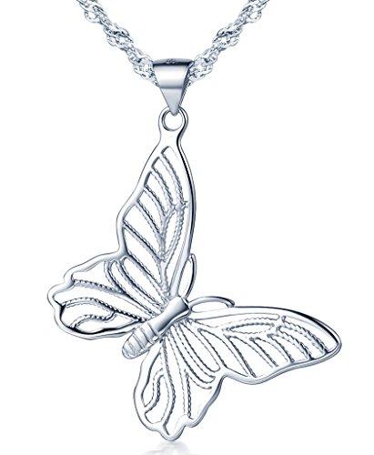 Unendlich U Fashion 925 Sterling Silber Damen Halskette Hohl Schmetterling Anhänger Kettenanhänger