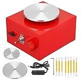 4YANG Mini rueda de alfarería 2000 RPM,Tocadiscos eléctrico de 6,5 cm a 10 cm Herramienta de arcilla DIY con bandeja para trabajos de cerámica Arcilla cerámica (rojo)